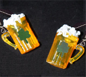 Funky Mini Realistic Foamy BEER MUGS EARRINGS with Irish Shamrock - St Patricks Day Bar Drink Ireland Fun Food Costume Jewelry - Miniature Plastic, Dimensional charm, filled with Faux Suds. Lucky Shamrocks sequins adorn the front.