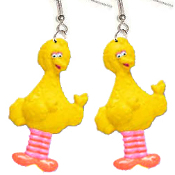 Big Funky BIG BIRD BODY EARRINGS - Sesame Street TV Costume Jewelry