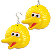 Huge Funky BIG BIRD EARRINGS - Sesame Street TV Costume Jewelry