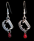 Funky Bite Me - Fang Banger - True Blood Drop VAMPIRE FANGS FALSE TEETH EARRINGS Gothic Costume Jewelry Silvertone Pewter Fangs Charm Pierced Earrings. Perfect jewelry for any aspiring Dusk Til Dawn vampire!
