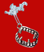 Funky Bite Me - Fang Banger - True Blood VAMPIRE FANGS FALSE TEETH PENDANT NECKLACE Gothic Costume Jewelry Silver-tone Pewter Fangs Charm. Dracula, True Blood, Twilight, Vampire Diaries, Dusk Til Dawn, Buffy the Vampire Slayer character inspired.