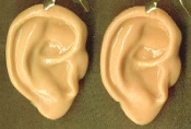 Body Parts EARS DANGLE EARRINGS - Creepy Halloween Realistic 3-D Freaky Gothic Costume Jewelry