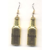 BOTTLE of BOOZE - LIQUOR EARRINGS - Bar - Restaurant - Bartender Jewelry - METALLIC GOLD-tone Plastic Charm