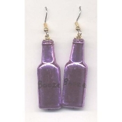BOTTLE of BOOZE - LIQUOR EARRINGS - Bar - Restaurant - Bartender Jewelry - METALLIC PURPLE Plastic Charm