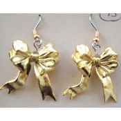 Funky Yellow GOLD RIBBON BOWS EARRINGS - Support Our Troops - Yellow GOLD-tone metallic plastic bow holiday charms novelty costume jewelry, approx. 1-inch (2.5cm) Tall.