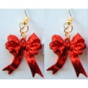 Funky RED GLITTER RIBBON BOW EARRINGS - Valentines Day Christmas Novelty Holiday Costume Jewelry - Sparkle plastic ruby color charm bows, approx. 1-inch (2.5cm) tall