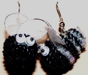 KILLER BEE EARRINGS - Mini Bumble Bees - Garden Honey Spelling Jewelry