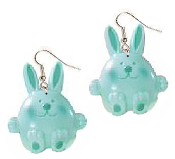 Huge Funky AQUA BLUE BUNNY EARRINGS - Cute RABBIT DANGLE Country Baby Farm Spring Garden Animal Toy Costume Jewelry - Big Easter Novelty Half-Dimensional Plastic Charm.
