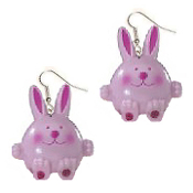 Huge Funky CHUNKY PINK BUNNY EARRINGS - Cute RABBIT DANGLE Country Baby Farm Spring Garden Animal Toy Costume Jewelry - Big Easter Novelty Half-Dimensional Front Hollow Back Plastic Charm, approx. 1-5/8-inch (4.06cm) tall x 1.25-inch (3.13m) wide.