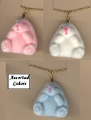 Funky Fuzzy BUNNY PENDANT NECKLACE Miniature Spring Garden Easter Rabbit Toy Mini Birthday Party Favor Costume Jewelry. Small Flocked Plastic Charm, approx. 1.25-inch (3.13cm) Tall on 18-inch (45cm) Neck Chain. Choose ONE. Pastel PINK, BLUE or WHITE.