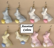 Funky Miniature FUZZY FLOCKED BUNNY with Tiny EASTER EGG EARRINGS Mini Spring Garden Faux Chocolate Rabbit Charm Costume Jewelry. Choose ONE (1) Pair from available Pastel Colors, WHITE, BLUE, PINK, or YELLOW. (*No Egg Color Choice)