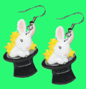Huge Funky BUNNY in BLACK MAGIC HAT EARRINGS - Spring Easter Garden Animal White Rabbit Magician Costume Jewelry - Big Dimensional Plastic Toy Charm. Watch me pull a rabbit out of my hat!