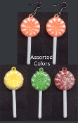 MEDIUM - SUCKER LOLLIPOP CANDY EARRINGS - Novelty Junk Food Charm Jewelry -1 PAIR, chosen from assorted colors, as shown.