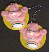 CHEER BEAR - Dangle EARRINGS - Care Bears - Collectible Jewelry - BIG