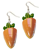 Huge Funky CARROTS EARRINGS - Garden Carrot Farm Easter BUNNY Rabbit Food Vegetable Costume Jewelry - Big Detailed, Half-Dimensional Irridescent Orange Plastic Veggie Charm, approx. 2-inch (5cm) tall. Funny 2- 'KARAT' Gift. Good eyesight not needed!