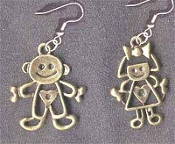 CARTOON BOY & GIRL EARRINGS - Gold-tone Pewter Couple Charm Jewelry