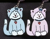 KITTY PINK / BLUE WOOD EARRINGS -SITTING - Cute Cat Feline Lover Jewelry