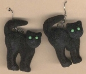 Huge Funky FUZZY BLACK CAT EARRINGS - Gothic Halloween Haunted House Wiccan Theme Lolita Wicked Witch Punk Evil Queen Diva Kitty Cat Lady Costume Jewelry - Spooky Flocked Mini Arched Back Familiar Feline Dimensional Charm.