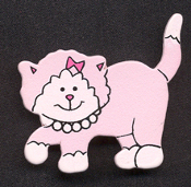KITTY PINK WOOD PIN BROOCH - Cute Cat Button Feline Lover Jewelry
