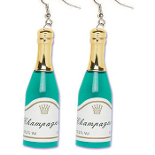 CHAMPAGNE BOTTLE EARRINGS - HUGE New Year Birthday Anniversary Wedding Jewelry