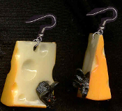 CHEESE WEDGE & MOUSE EARRINGS - HUGE Vintage Vending Funky Food Charm Jewelry