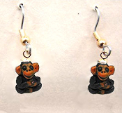 Tiny CHIMPANZEE EARRINGS - Zoo Animal Chimp Ape Monkey Gorilla Jewelry