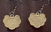 CHINESE COIN GOOD LUCK CHARM EARRINGS - Pewter Brass Lucky Dynasty Long-Life Prosperity Jewelry