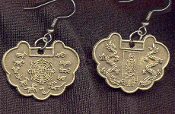 CHINESE ZODIAC COIN GOOD LUCK EARRINGS - Pewter Brass Lucky Horoscope Ancient Dynasty Charm Jewelry