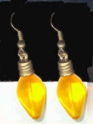 YELLOW Christmas LIGHT BULB EARRINGS - Holiday Charm Jewelry