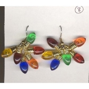 Mini Christmas LIGHT BULB EARRINGS - 6-Color Gift Jewelry -3/4""