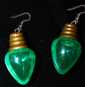 HUGE Fun Christmas Tree Holiday Faux LIGHT BULB EARRINGS - GREEN Stocking Stuffer Jewelry