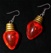 HUGE Fun Christmas Tree Holiday Faux LIGHT BULB EARRINGS - RED