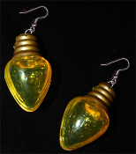 HUGE Fun Christmas Tree Holiday Faux LIGHT BULB EARRINGS - Golden YELLOW Stocking Stuffer Jewelry