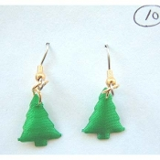 Christmas TREE EARRINGS - Christmas Gift Forest Jewelry - PUFFY Colorful, Satin Charm.