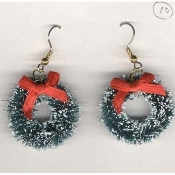 HUGE Christmas WREATH EARRINGS - Snow Frosted Sisal Bottle Brush Mini Jewelry - 1-1/2""