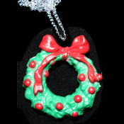 Christmas WREATH PENDANT NECKLACE-3d Holiday Novelty Jewelry-BIG