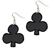 HUGE Lucky Charm Black CLUB PLAYING CARD SUIT EARRINGS - BlackJack Poker Luck Jewelry
