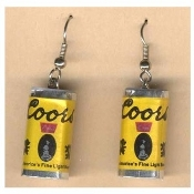 Funky Mini COORS LIGHT BEER CANS EARRINGS - Waitress Bartender Punk Food Sports Bar Drink Charm Costume Jewelry - Miniature Metallic Paper-covered, Plastic Dimensional BEER CAN charms.