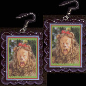 HUGE Wizard of Oz COWARDLY LION EARRINGS - Funky King of the Jungle Courage Novelty Movie Character Costume Jewelry - BIG clear purple glitter plastic frame toy Bert Lahr photo charms. Lions and Tigers and Bears. Oh, My!