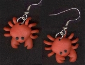 Funky Miniature CRABBY CRAB EARRINGS - Aquatic Crustacean Beach Sea Animal Novelty Costume Jewelry - Mini Handcrafted Polymer Clay dimensional ocean scuba diver toy charm, approx. 1-inch (2.5cm) diameter. Great to wear on cranky days!