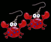 Funky HAPPY CRAB EARRINGS - Big Beach Ocean Sea Food Charm Jewelry