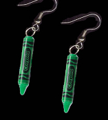 Mini CRAYOLA CRAYONS EARRINGS - Colorful Plastic Charms Jewelry -GREEN
