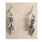 CROSSED FINGERS PEWTER EARRINGS - Antique Silver-tone Victorian Casino Lucky Charm Jewelry