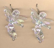 Huge Funky LOVING CUPID CHERUB EARRINGS - Big Seasonal Spiritual Holiday Heavenly Baby ANGEL Music Teacher Musician Novelty Costume Jewelry - Large Acrylic Crystal Plastic Iridescent Aurora Borealis Musical Theme Charm Mini Figure