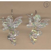 Huge Funky CUPID CHERUB PLAYING VIOLIN EARRINGS - Big Seasonal Spiritual Holiday Heavenly Baby ANGEL Music Teacher Musician Novelty Costume Jewelry - Large Acrylic Crystal Plastic Iridescent Aurora Borealis Musical Theme Charm Mini Figure