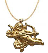 Funky Rubenesque CUPID CHERUB ANGEL FLYING BOW and ARROW NECKLACE PENDANT - Gold-tone Love Charms Novelty Costume Jewelry - Vintage look, Brass miniature dimensional stamped pressed metal charm. Great gift for your Valentine sweetheart!