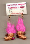 Mini collectible TROLL DOLL WINGED CUPID EARRINGS - Punk funky retro Russ Berrie little TRUE LOVE TROLLS retired costume jewelry - PINK Hair - Miniature vintage Valentine's Day lucky charm angel gnome with heart-shaped rhinestone