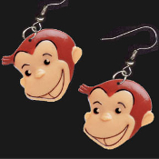 Big Funky CURIOUS GEORGE FACE EARRINGS - Book Monkey Chimp Ape Cartoon TV Jewelry