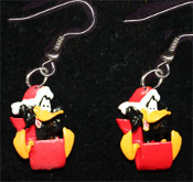 Funky Mini Christmas DAFFY DUCK SANTA SLED EARRINGS - Looney Tunes Christmas Holiday Bird Toboggan Novelty Costume Jewelry Xmas cartoon comics character dangle charms.