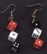 Big Funky Mini DICE EARRINGS - Realistic Miniature Lucky Pair Casino Craps Game Player Las Vegas Gambling Lucky Charm Novelty Costume Jewelry - Large RED BLACK and WHITE Mismatched Opposite Charm Beads. Mama, Daddy, Baby needs a new pair of shoes!